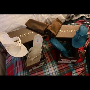 Gucci sandals teal & white. 6.5